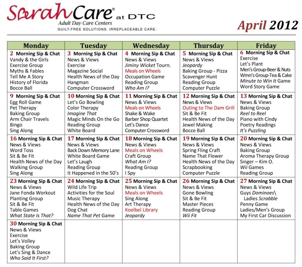 April 2012 Activity Calendar Small Sarahcare   Other Within March Assisted Living Calendar Activities