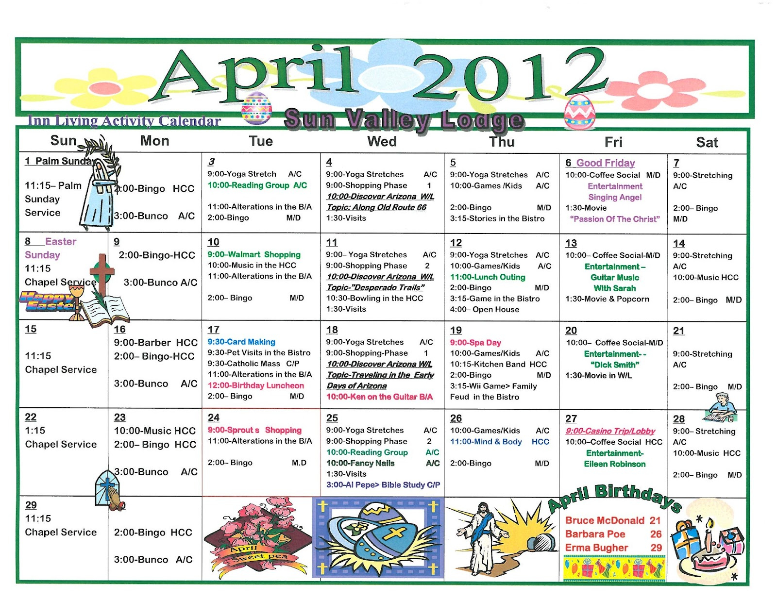 April 2012 Independent/Assisted Living Activities In March Assisted Living Calendar Activities