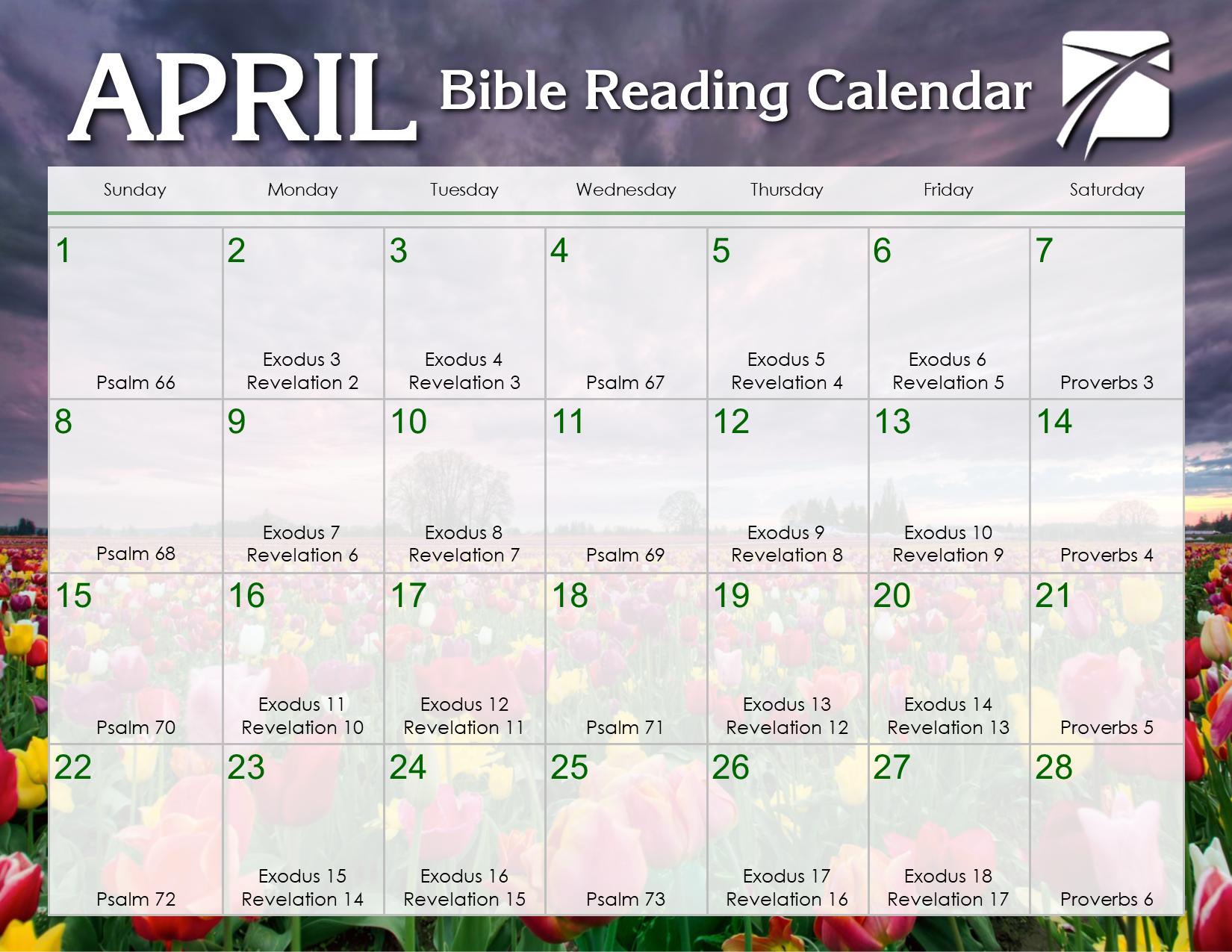 April 2018 Daily Bible Reading Calendar – Ingodsimage Inside Read The Bible In A Year Calendar