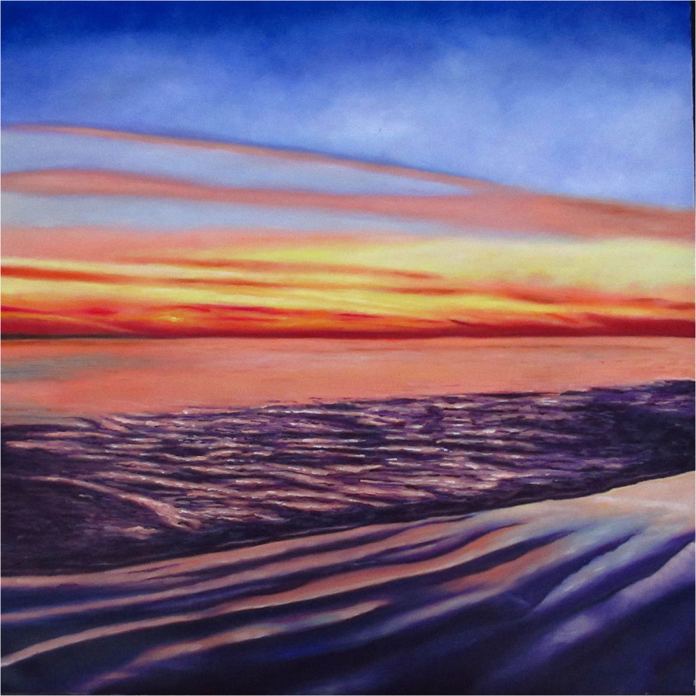 Art Oil Painting Canvas Sunrise Sunset Ocean Print Seacape Intended For Sunrise And Sunset Times Printable