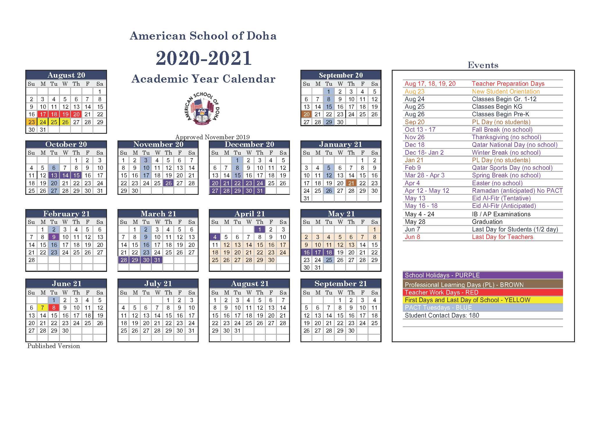 Asd Calendar 2020-2021 - American School Of Doha inside Shelby County Al Public School Calendar 2021 2021