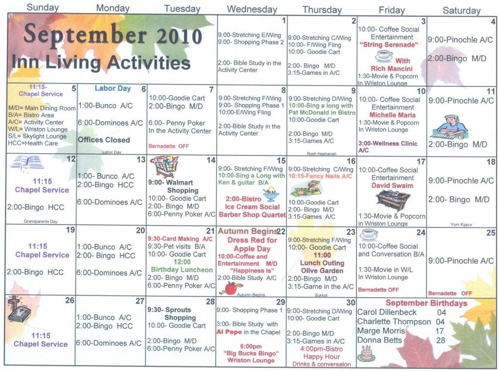 Assisted Living Activity Calendar Template   Calendar For March Assisted Living Calendar Activities