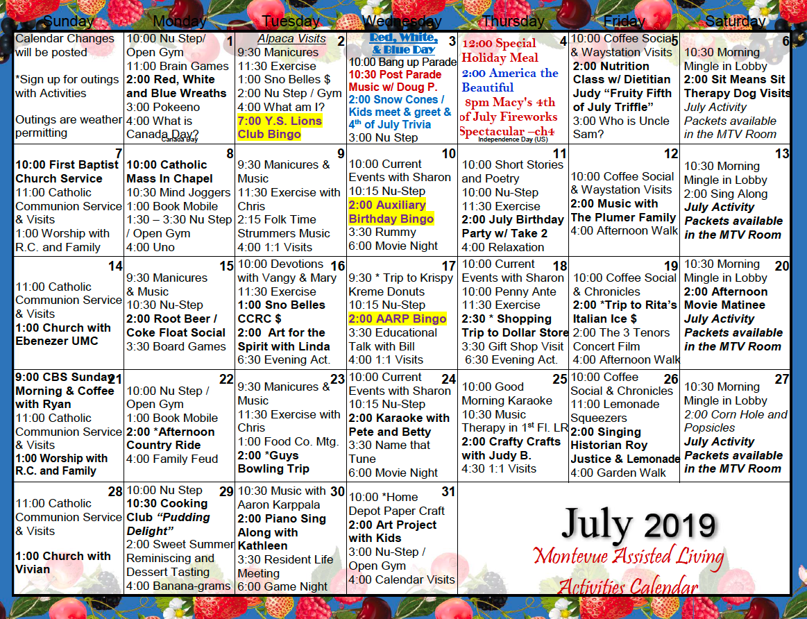 Assisted Living Activity Calendars | Printable Calendar Pertaining To Assisted Living Activities Calendar Ideas
