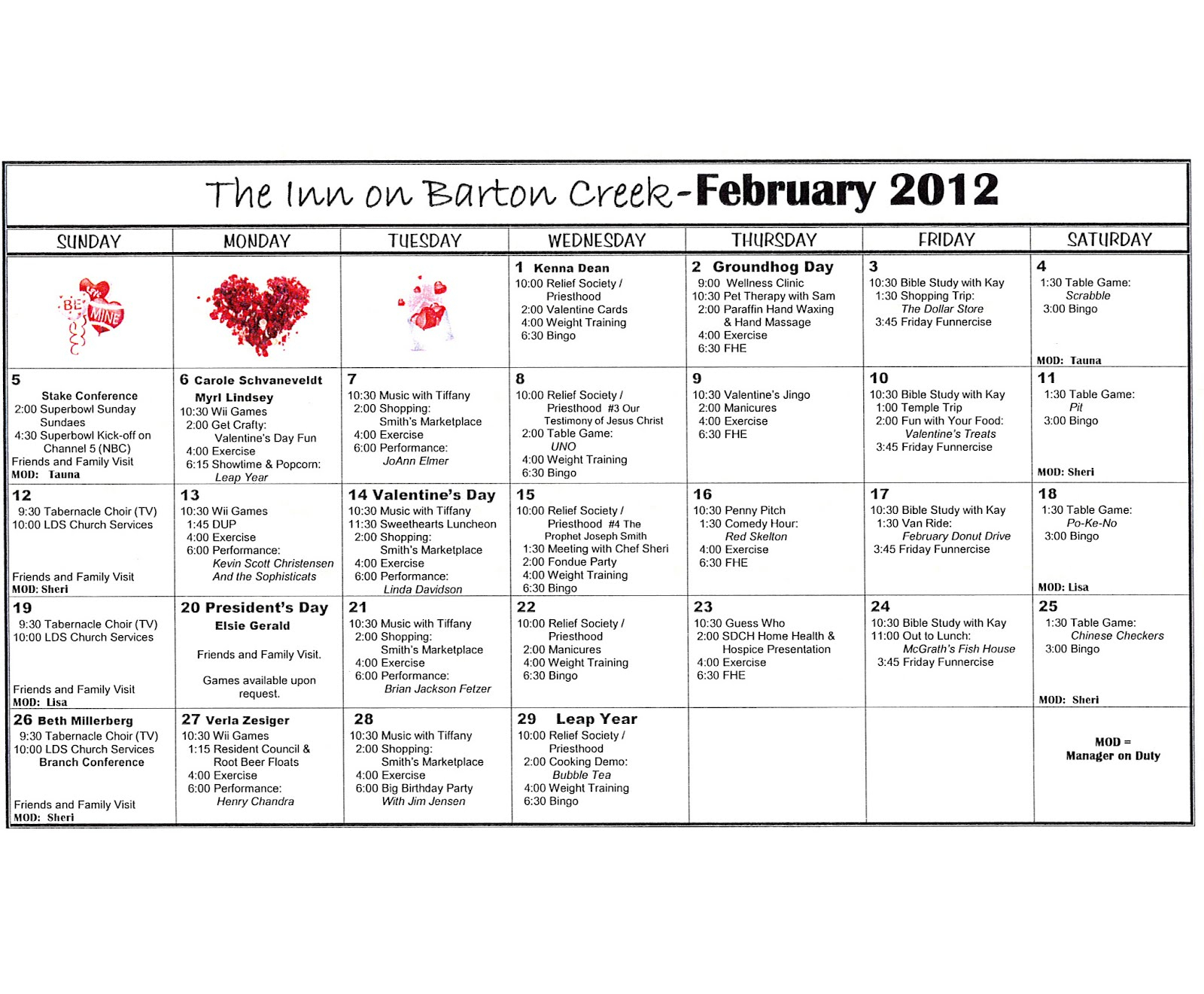 Barton Creek Assisted Living: Activities Calendar With Regard To Activity Calendar Assisted Living