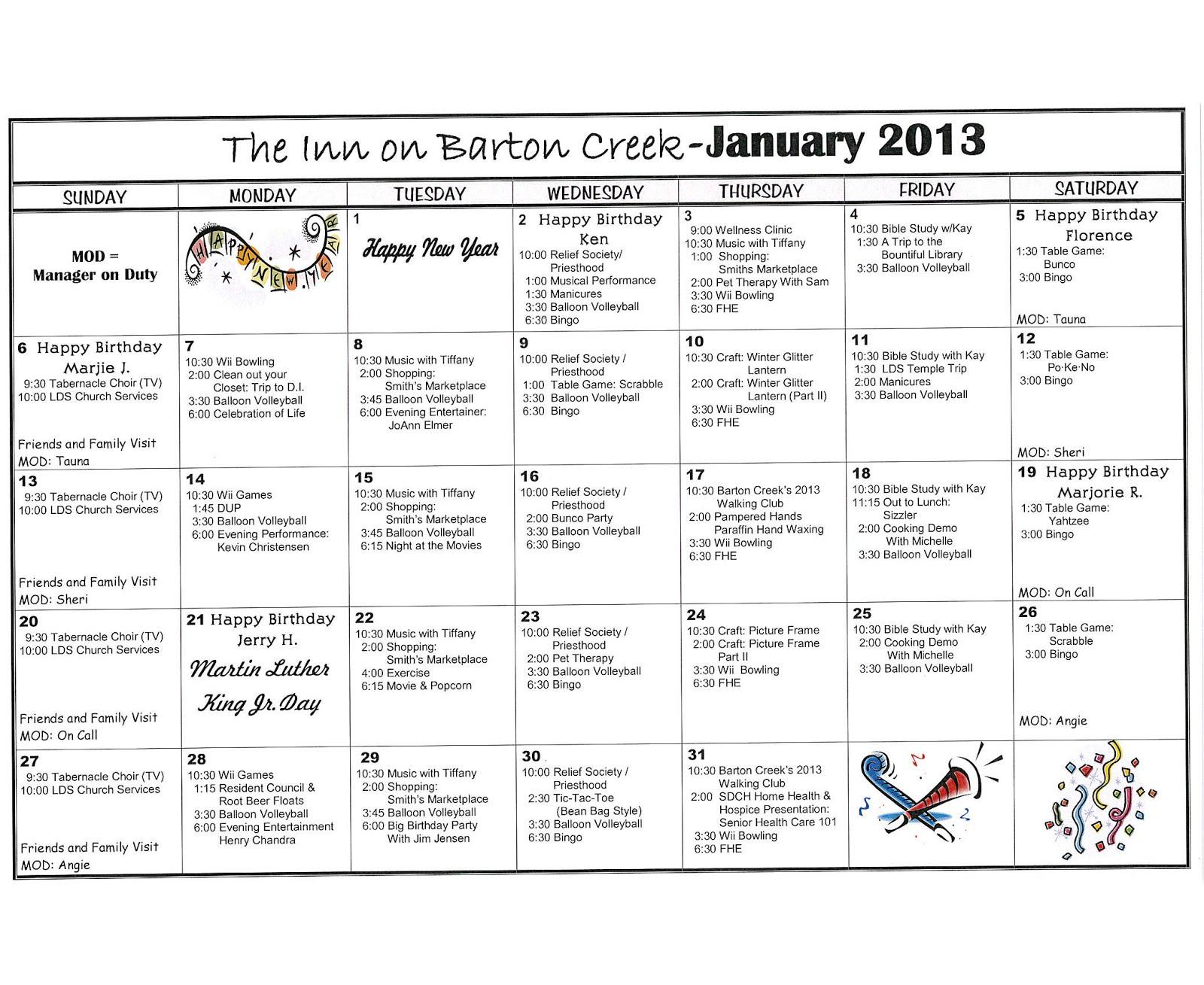 Barton Creek Assisted Living: January 2013 Activities Calendar Pertaining To Assisted Living Activities Calendar Ideas