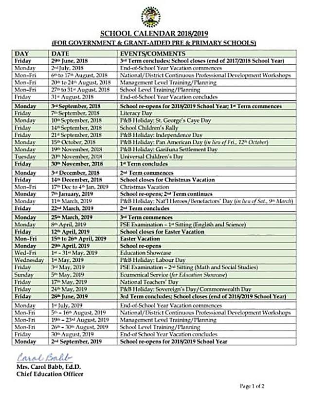 Belize'S School Calendar 2019   Ambergris Today   Breaking With San Jose City Schools Calendar