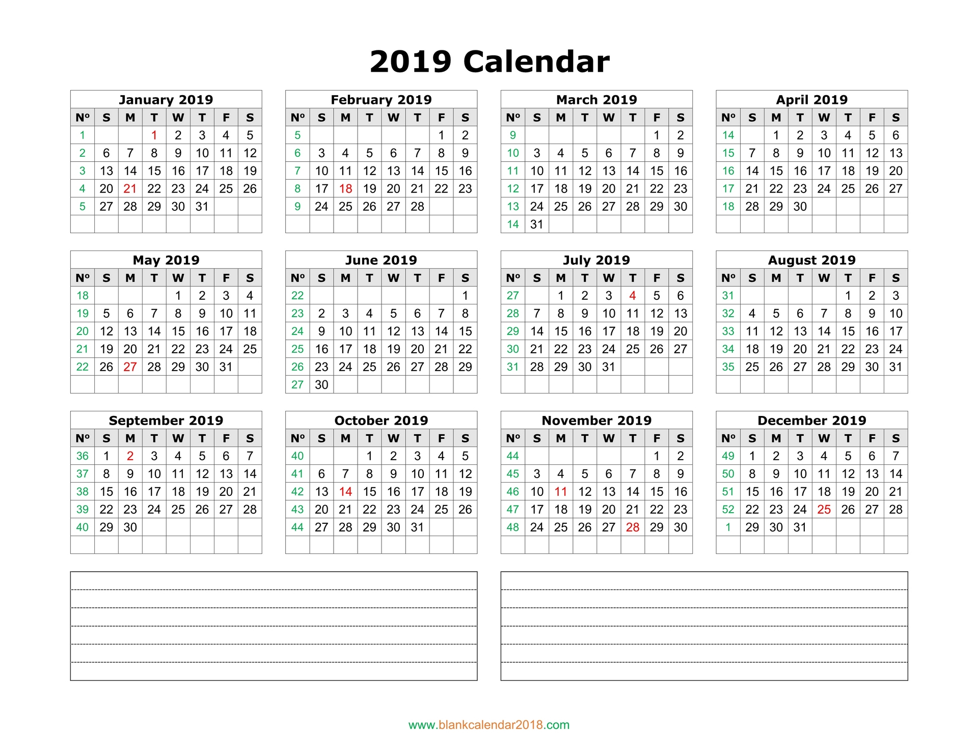 Blank Calendar 2019 Intended For 52 Week Printable Calendar Blank