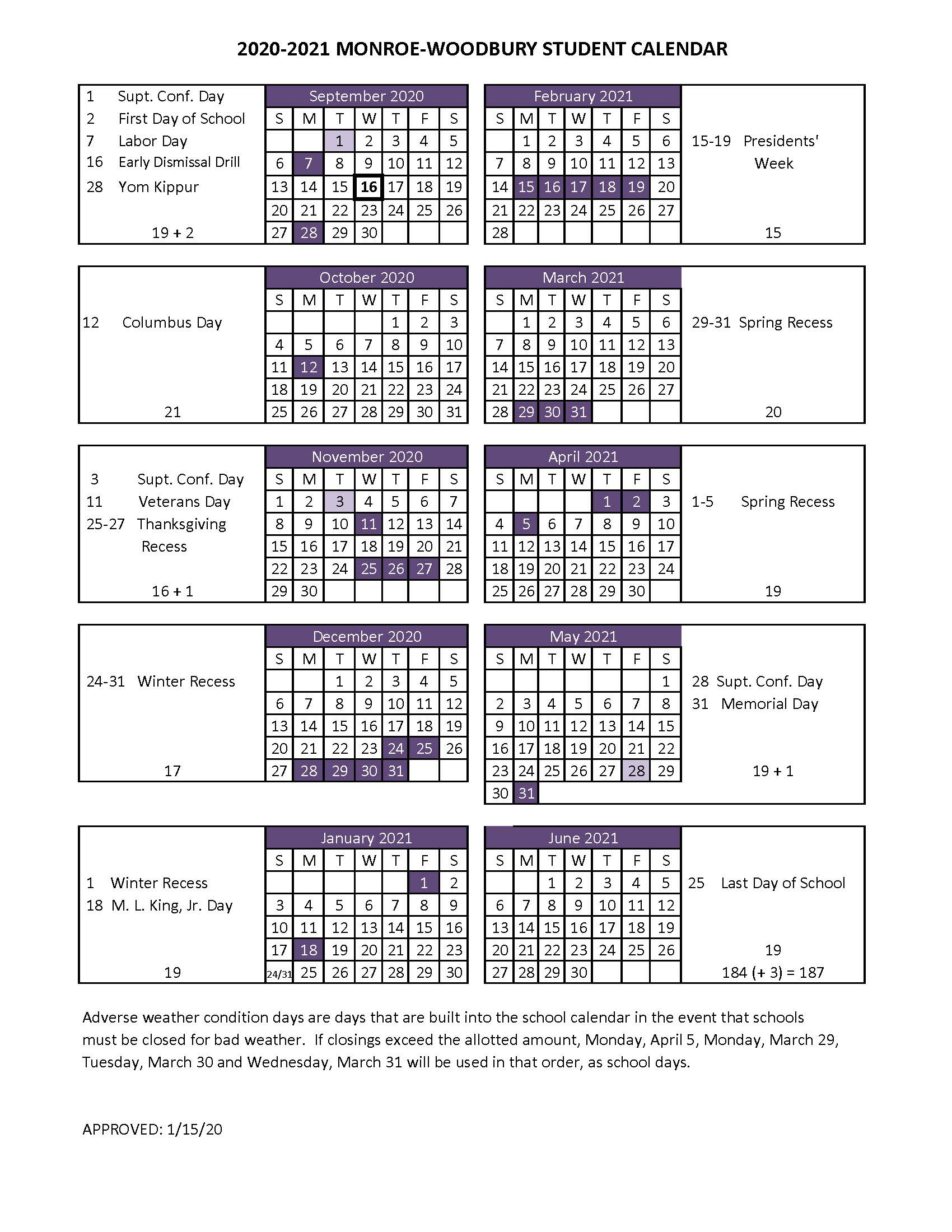 Boe Adopts 2020 2021 Student Calendar - Monroe Woodbury In Jersey City Public School Calendar 2021 2020