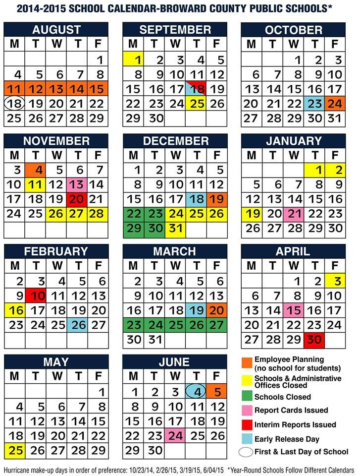 Broward County Schools 2014 2015 Calendar.   Broward In What Is A Sample Year Round School Schedule