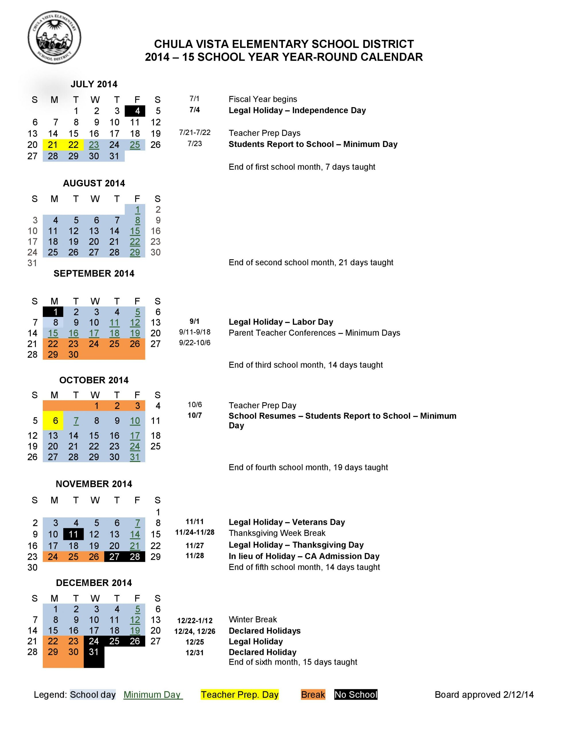 Calendar 2014 2015   Liberty Elementary With What Is A Sample Year Round School Schedule