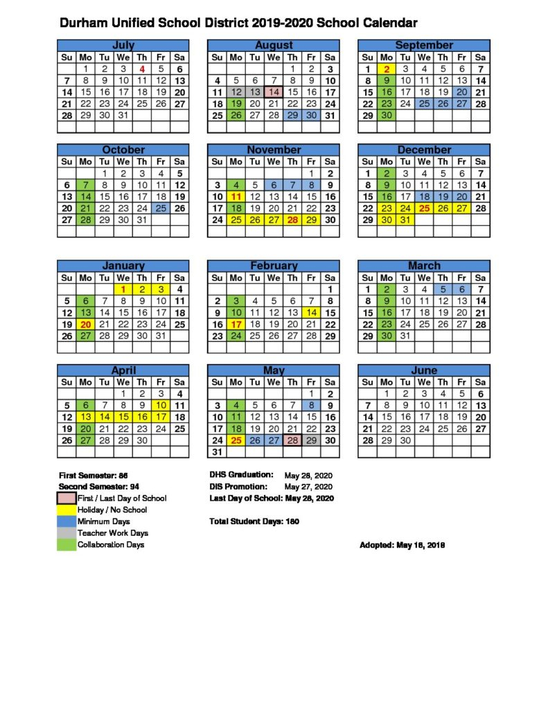 Calendar – Durham Unified School District Throughout Durham Public Schools Calendar 2021 2020
