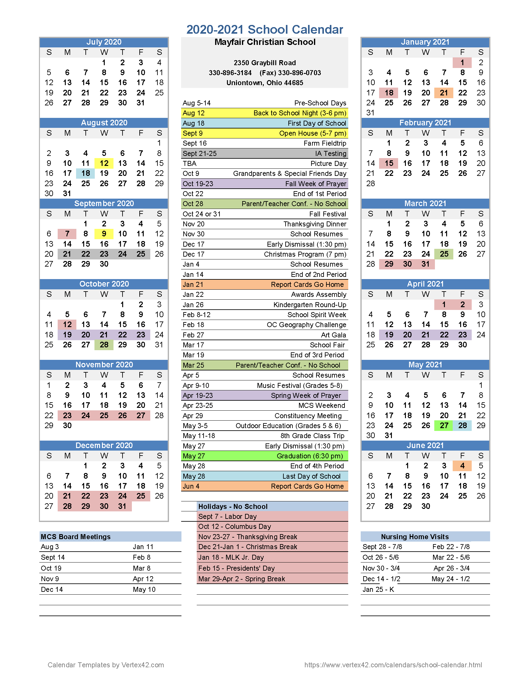 Calendar | Mayfair Christian School For University Of Akron 2020 Calendar