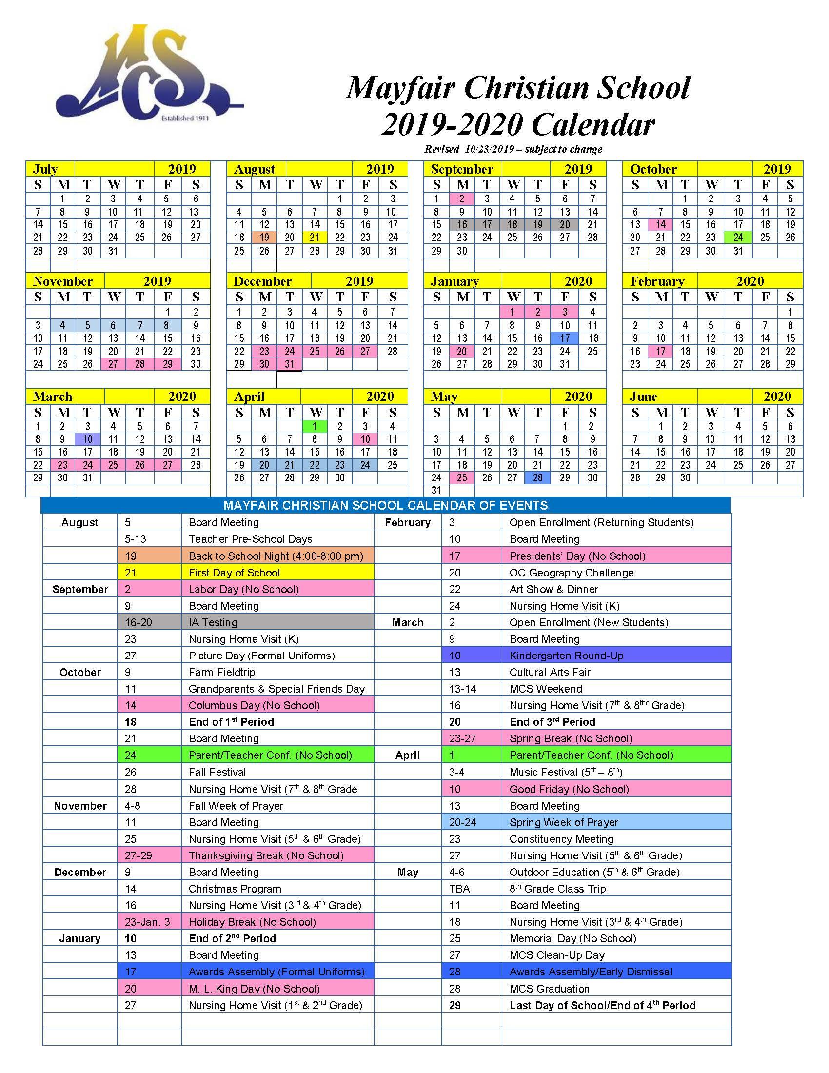 Calendar | Mayfair Christian School Within University Of Akron 2020 Calendar
