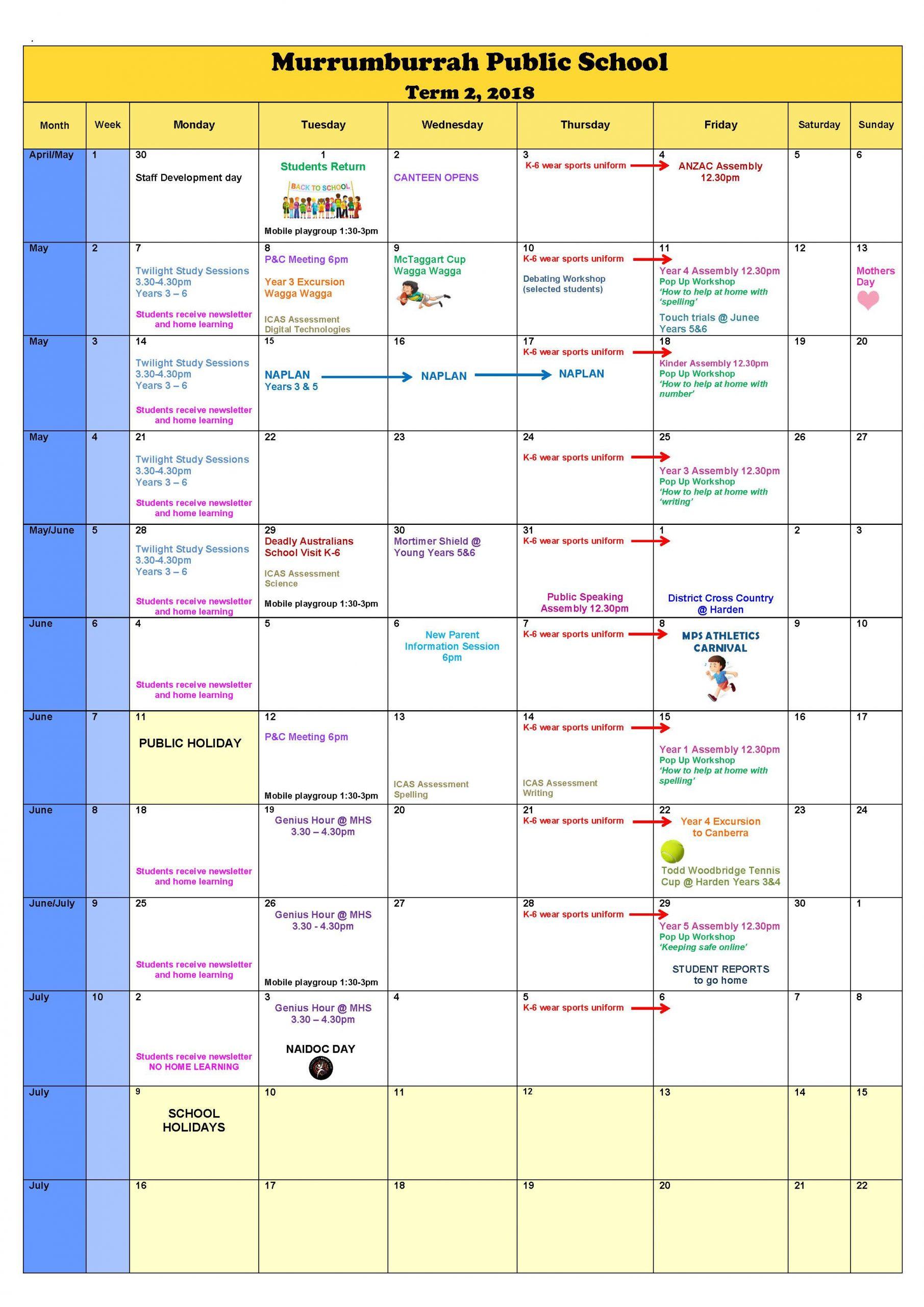 Calendar - Murrumburrah Public School with Doeschool Calendar 2014 2015