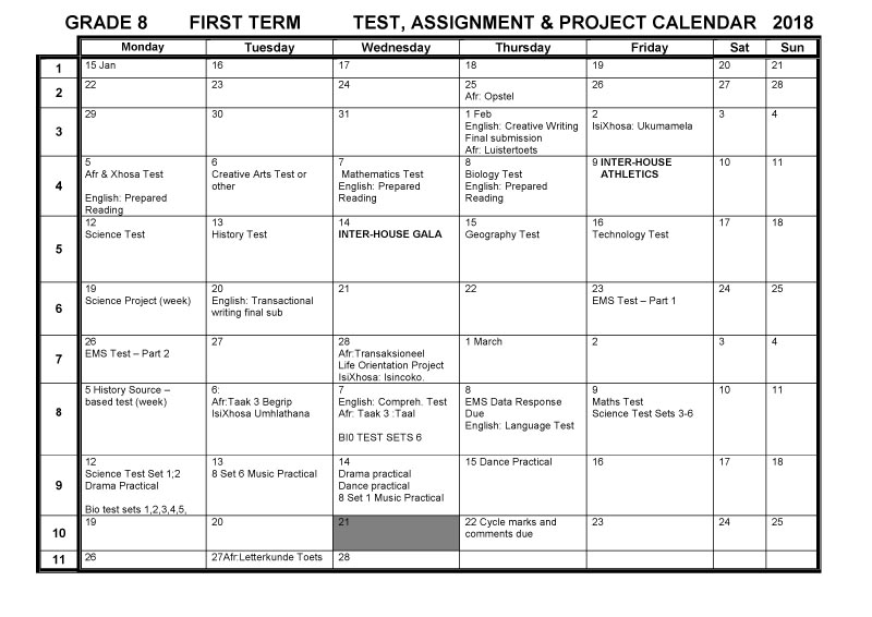 Cbhs Grade 08 Tests Projects & Assignments For Term 1 Of For Bay Co School Calendar 2021 2021