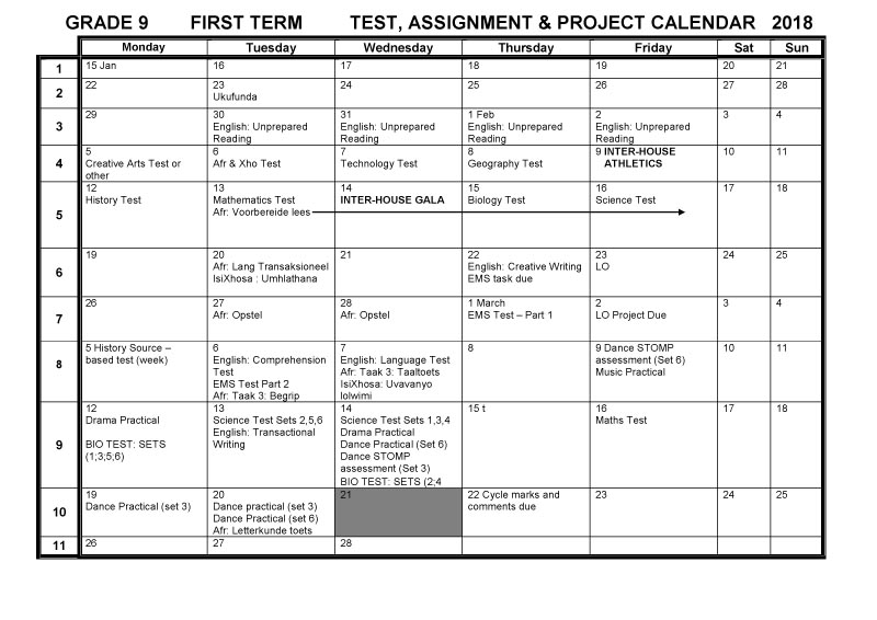 Cbhs Grade 09 Tests Projects & Assignments For Term 1 Of Pertaining To Bay Co School Calendar 2021 2021