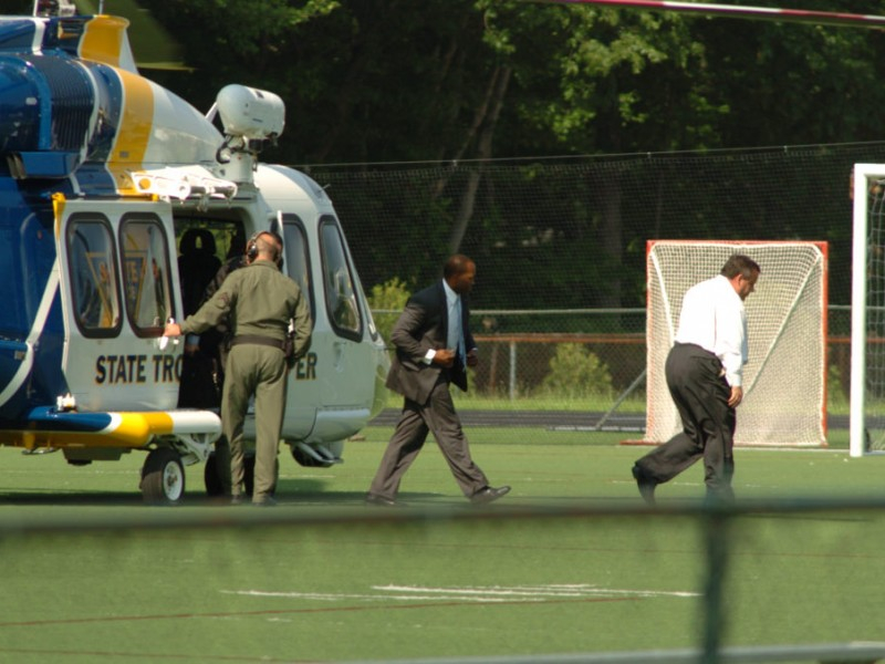 Christie Lands In Bergen County In State Police Helicopter For Oakland School For The Arts Calendar