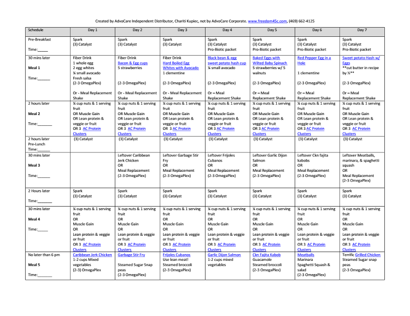 Clean Eating 7 Day Menu Plan! Advocare Friendly! Links To Within Printable Guide Advocare 24 Day Challenge