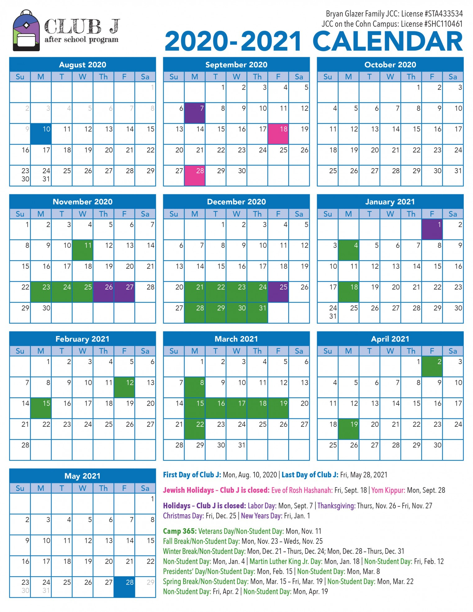 Club J After School Enrichment Program Located In Citrus Inside Bay County School Calendar 2020 2021