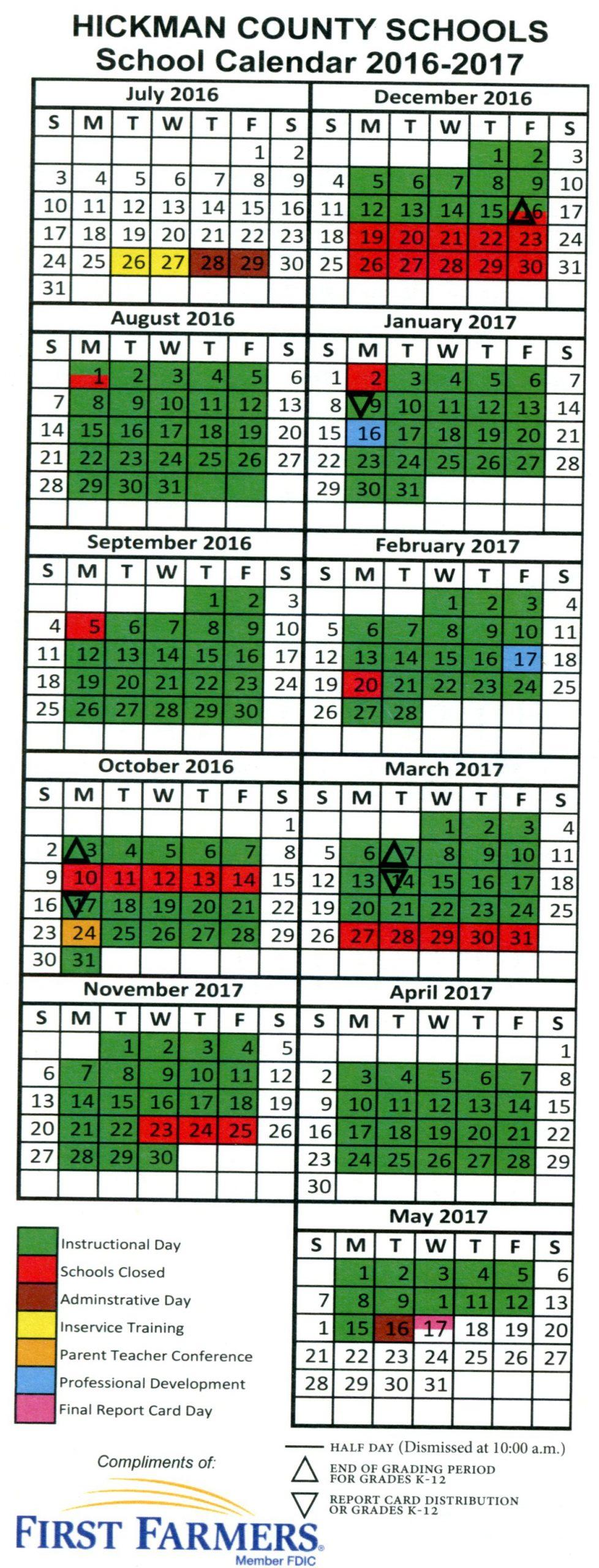 Color Coded District Calendar | Hickman County Schools With Regard To Bay Co School Calendar 2021 2021
