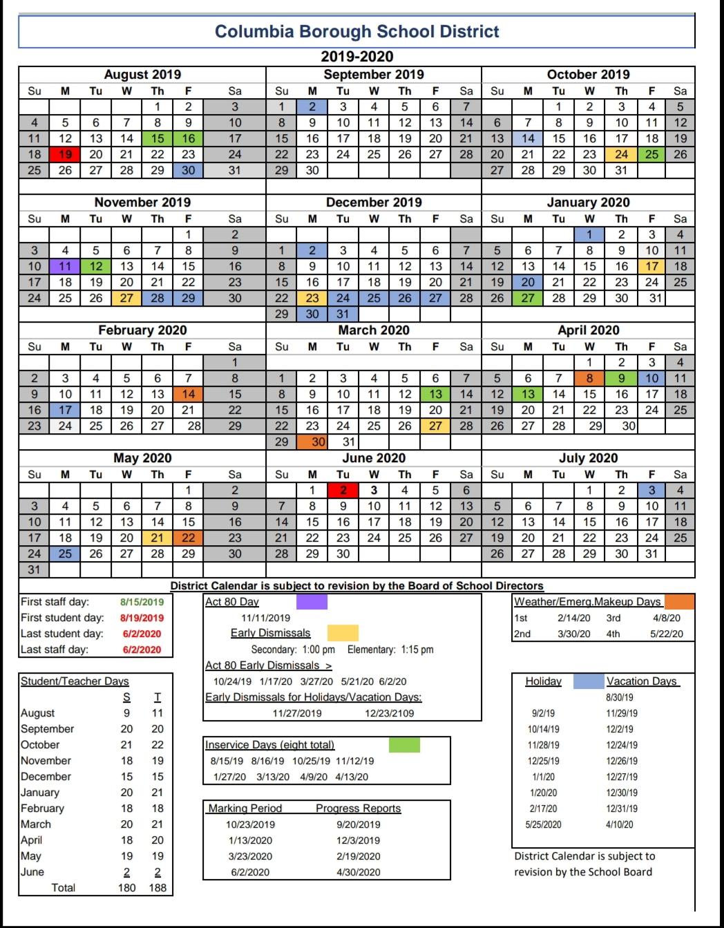 Columbia County School Calendar 2020 | Free Printable Calendar For Georgia State 2020 School Calendar