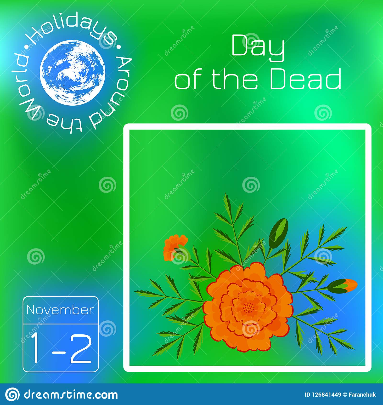 Day Of The Dead. Mexican Festival. Calendar. Holidays In Mexican Calendars With Day Suggested Names