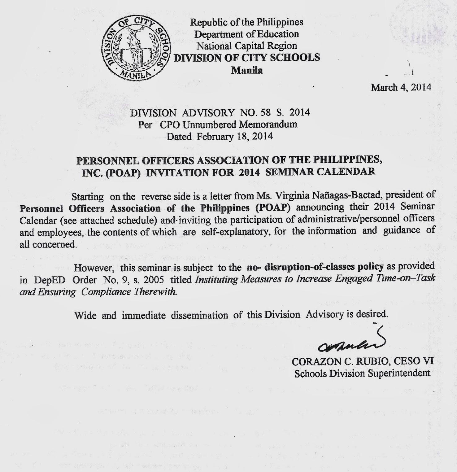 Department Of Education Manila: Division Advisory No. 58 In Doeschool Calendar 2014 2015