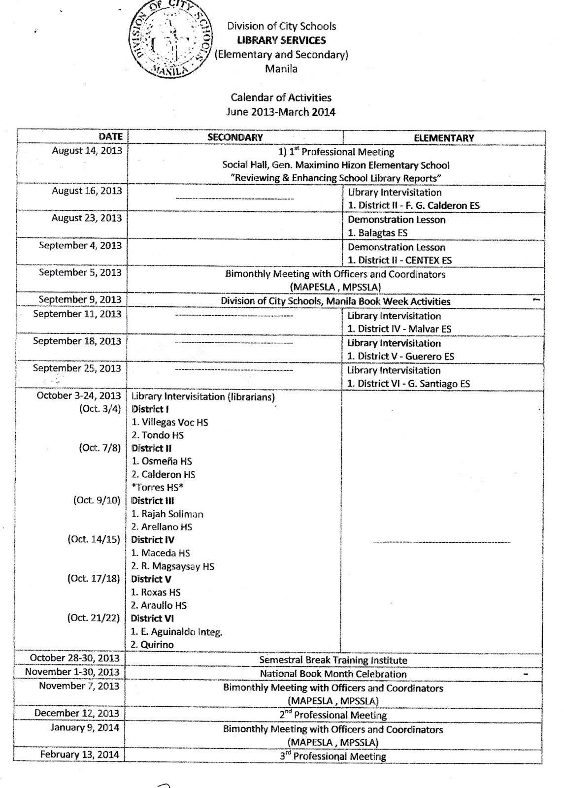 Department Of Education Manila: Division Memorandum No Pertaining To Doeschool Calendar 2014 2015