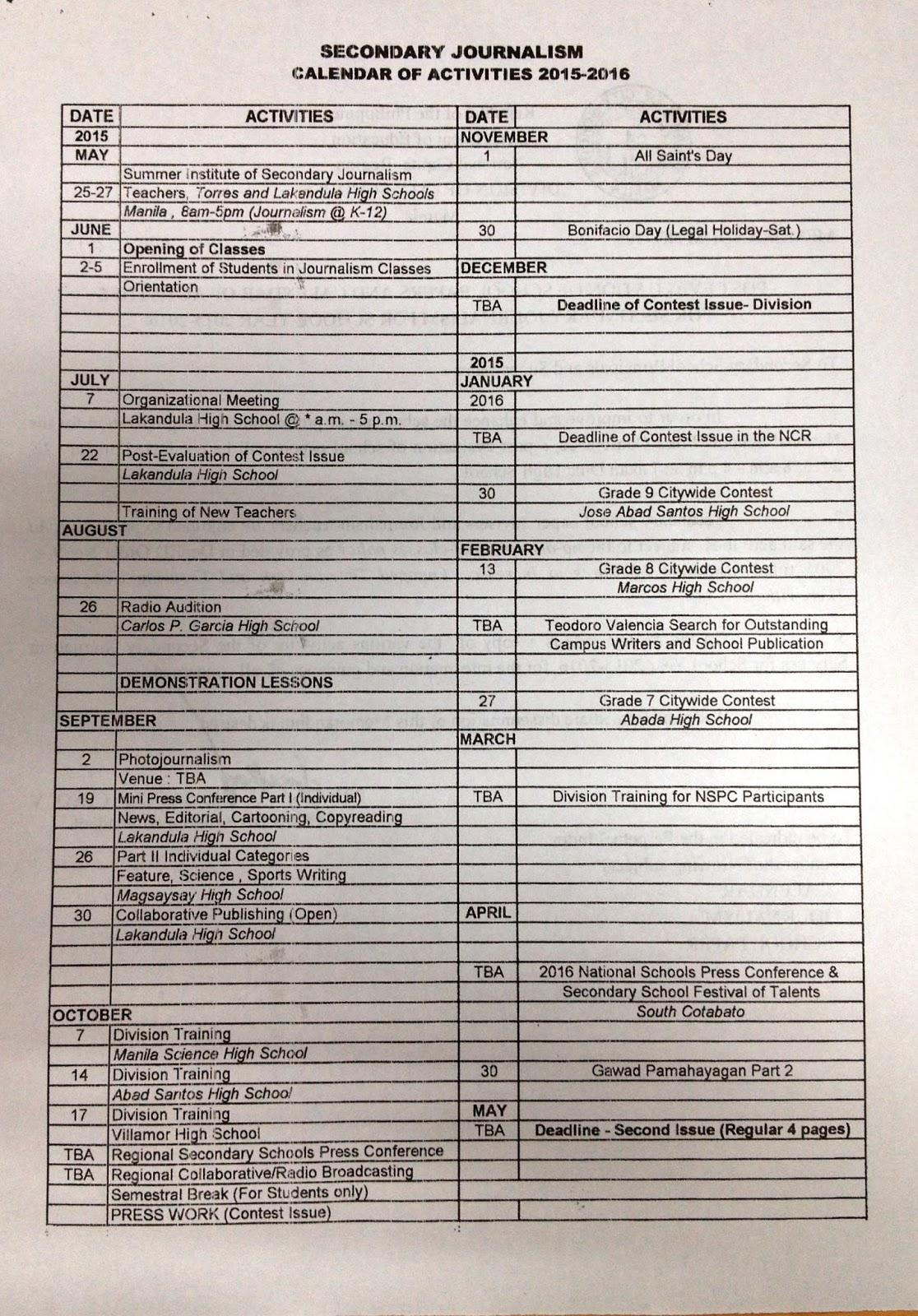 Department Of Education Manila: Division Memorandum No Throughout Doeschool Calendar 2014 2015
