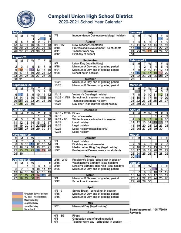 District Calendar – Miscellaneous – Campbell Union High In San Jose University Calendar