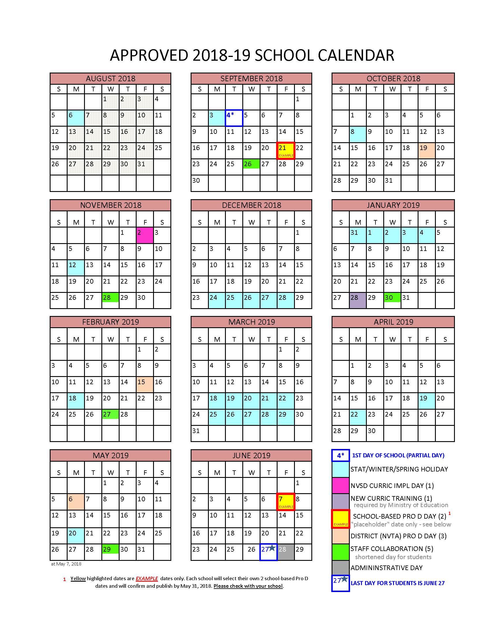 District Calendar - North Vancouver School District with Aiken High School Sc Calendar For 2015