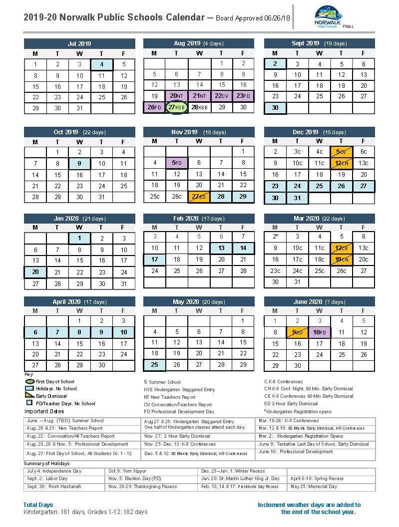 District Calendar – Norwalk Public Schools Within Angelo State Printable Academic Calendar