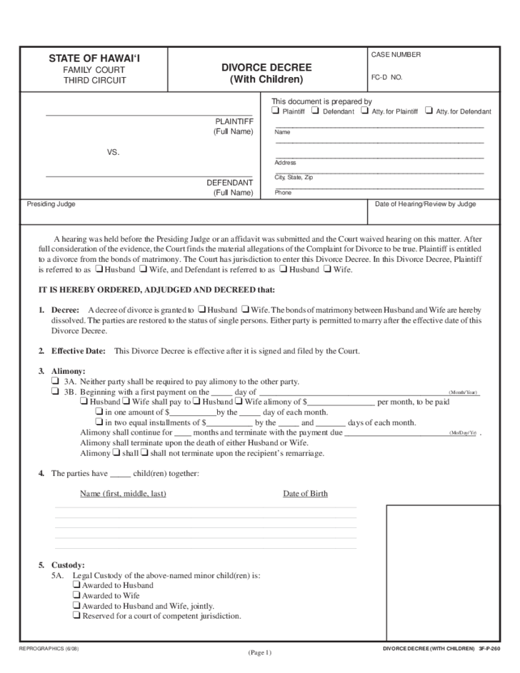 Divorce Decree With Children - Hawaii Free Download Intended For Court Dates By Defendant Name