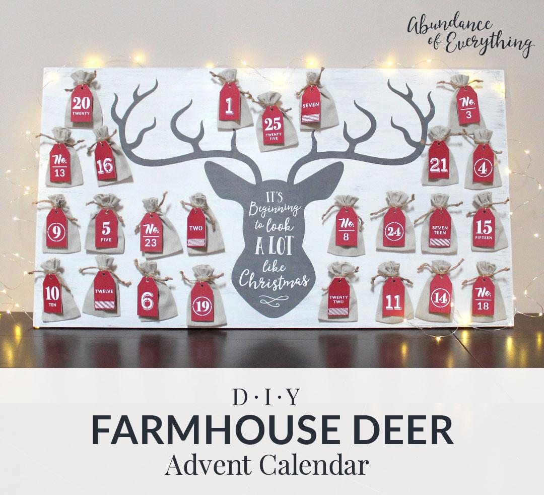 Diy Farmhouse Inspired Deer Advent Calendar - Abundance Of In How To Create Countdown 2 Year Calendar Starting In April