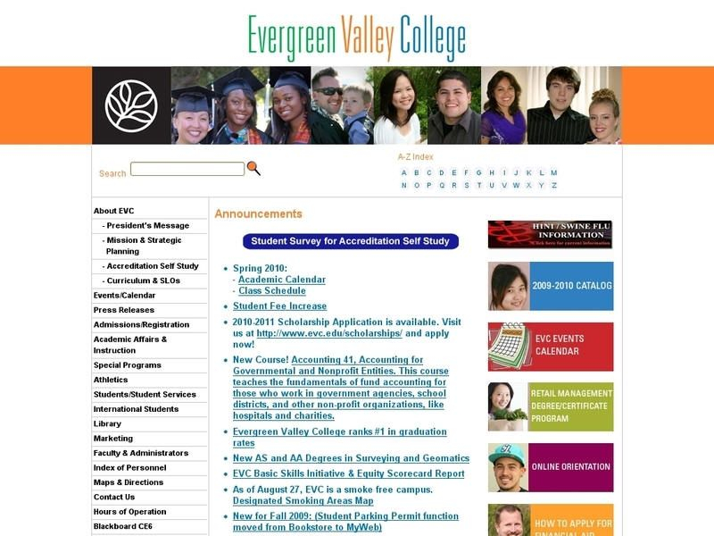 Evergreen Valley College   Valley College, College Pertaining To San Jose University Calendar