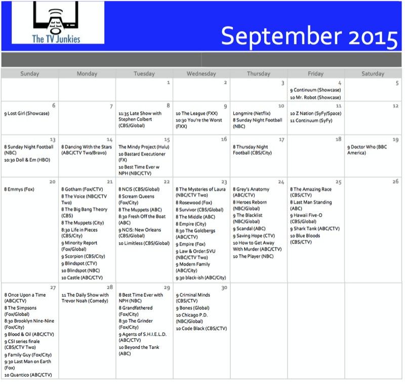 Fall 2015 Tv Premiere Calendars - The Tv Junkies intended for Printable Tv Premiere Calendar