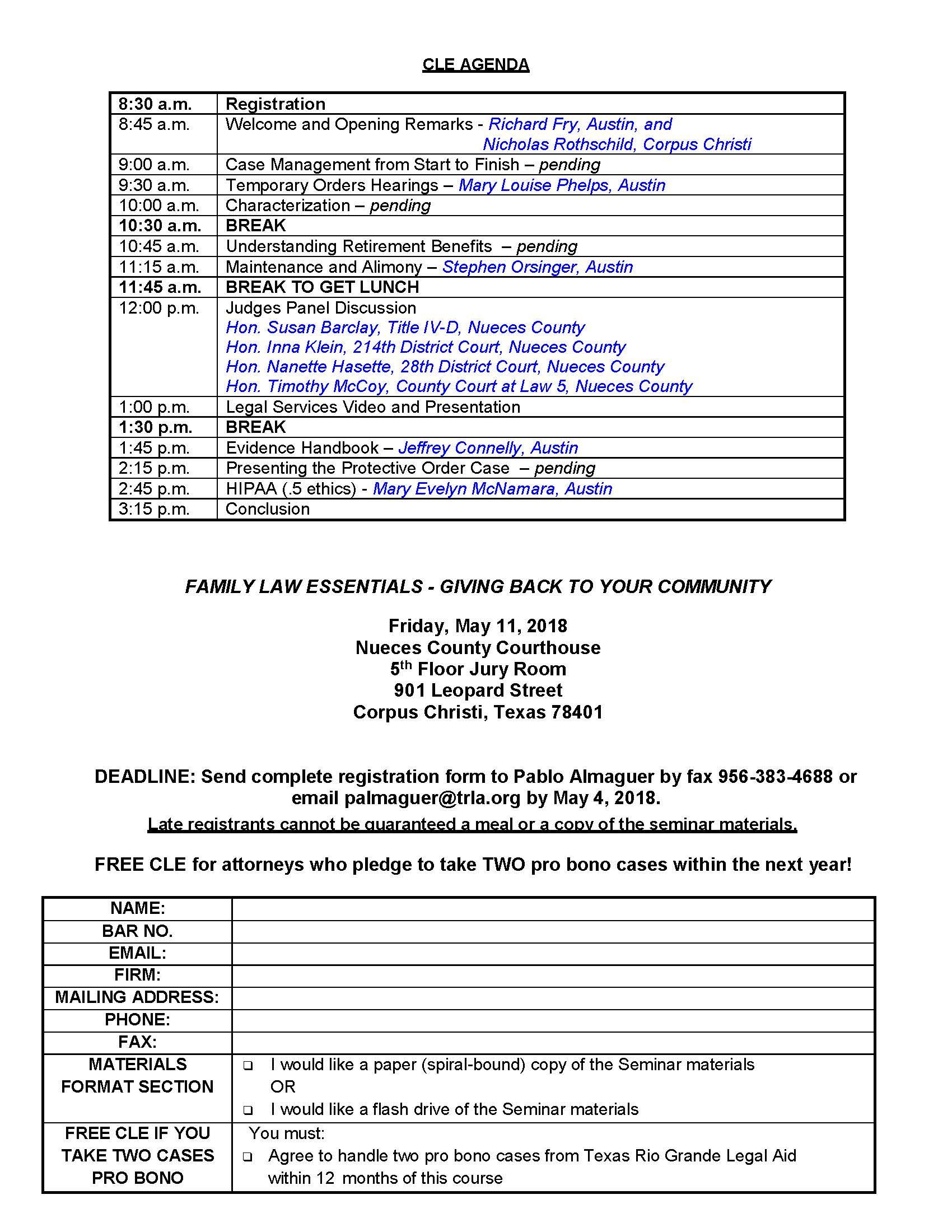 Family Law Essentials Seminar – Corpus Christi Bar Association intended for Wake Family Law Calendar