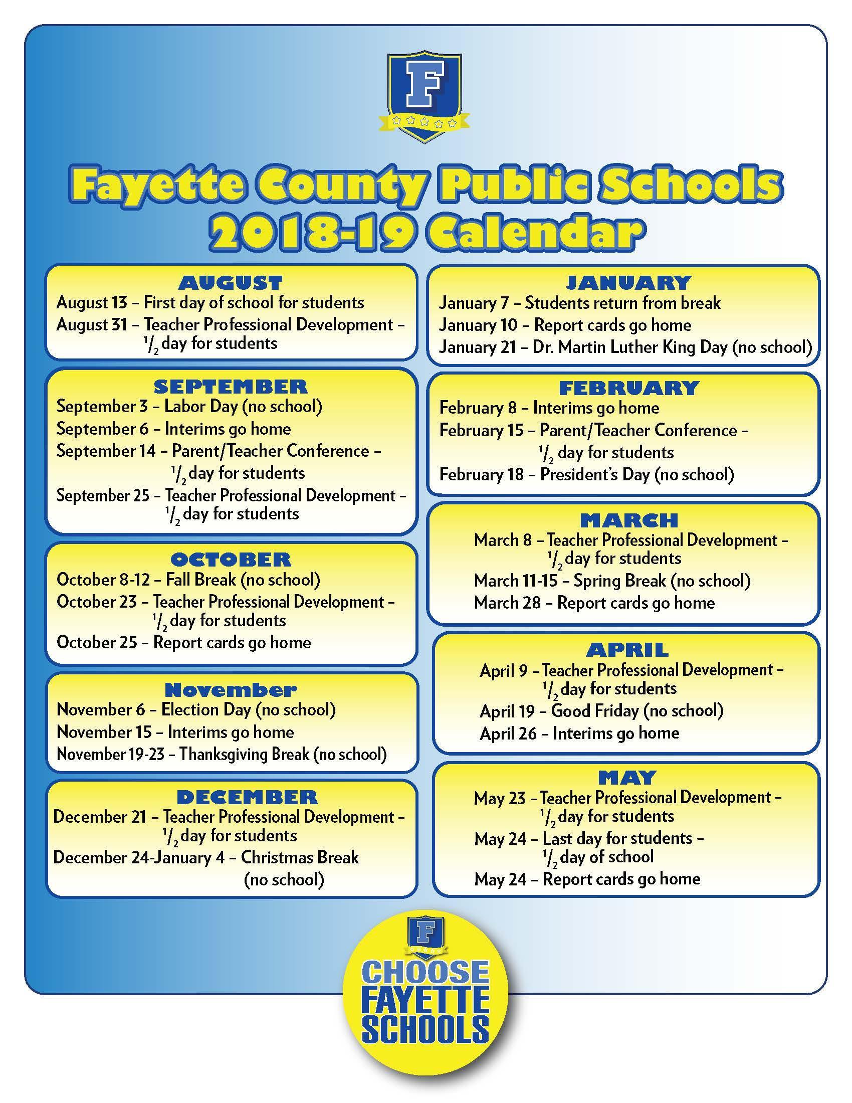 Fayette County Schools Calendar   Calendar Fall 2020 Throughout Fayette Co Ga School Holidays