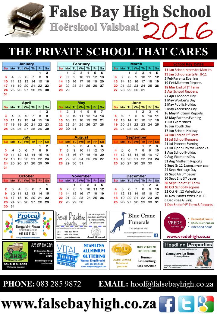 Fbh 2016 Calendar (With Key Dates) – False Bay High School Throughout Bay Co School Calendar 2021 2021
