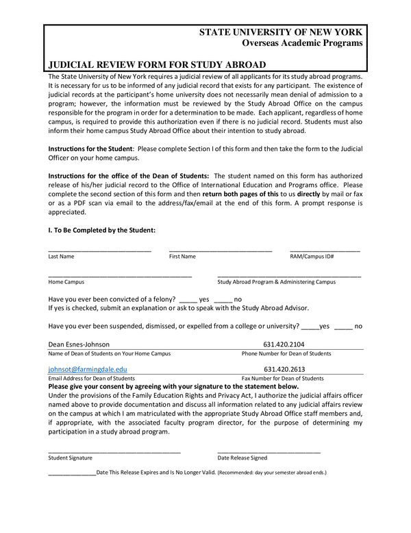 Fill - Free Fillable Forms: State University Of New York Within Farmingdale State College Spring Break