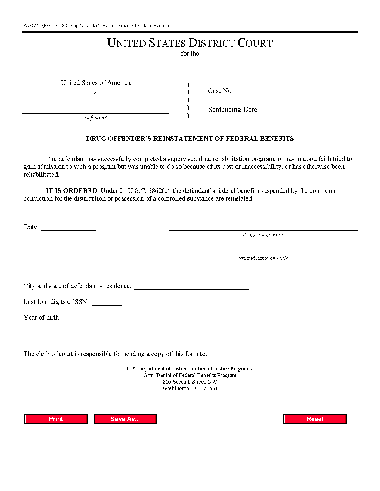 Form Ao 249 Drug Offender'S Reinstatement Of Federal Benefits With Regard To Court Date By Defendant Name