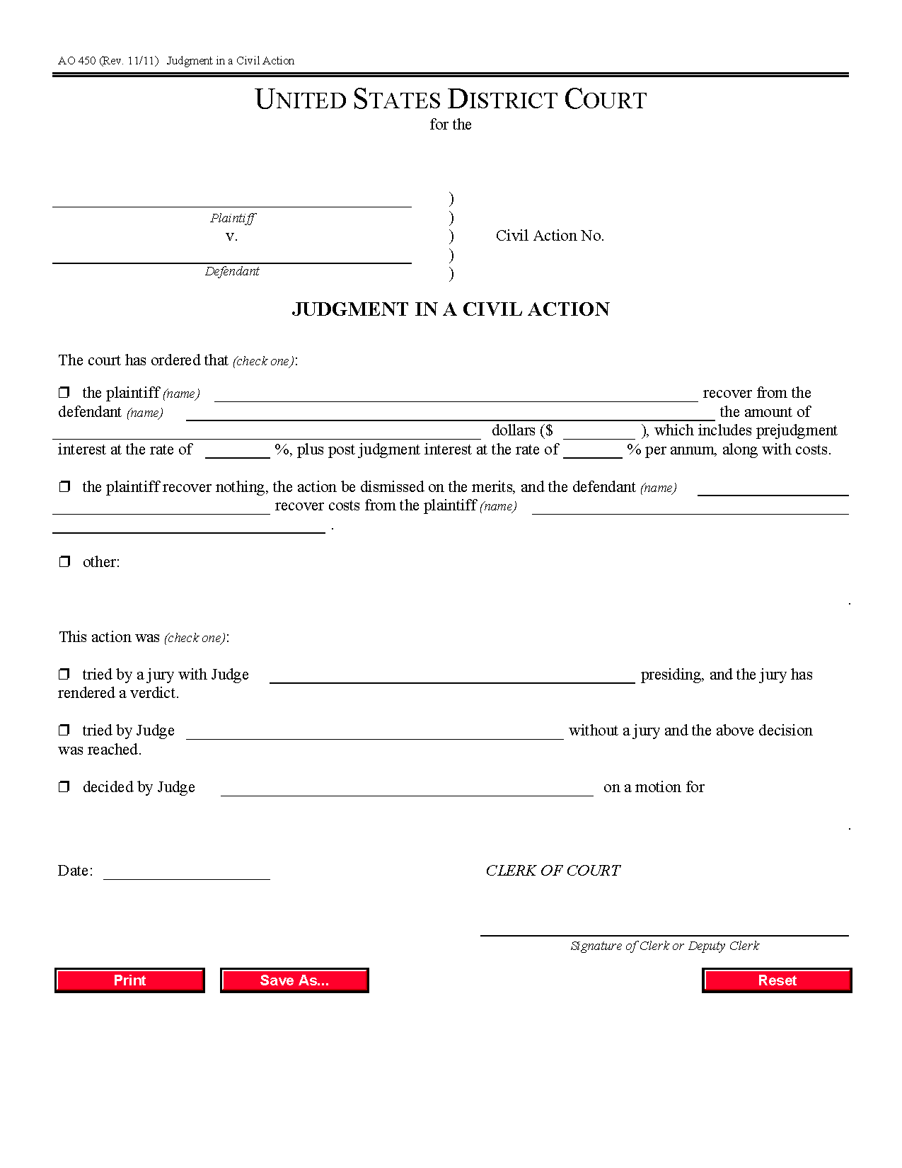 Form Ao 450 Judgment In A Civil Case Pertaining To Nc Court Date By Defendant By County