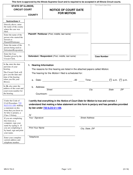 Form Mn N 704.3 Download Printable Pdf, Notice Of Court In Nc Court Date By Defendant By County