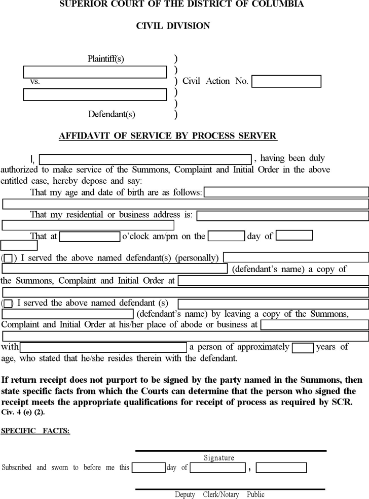 Free District Of Columbia Affidavit Of Serviceprocess Pertaining To Court Dates By Defendant Name