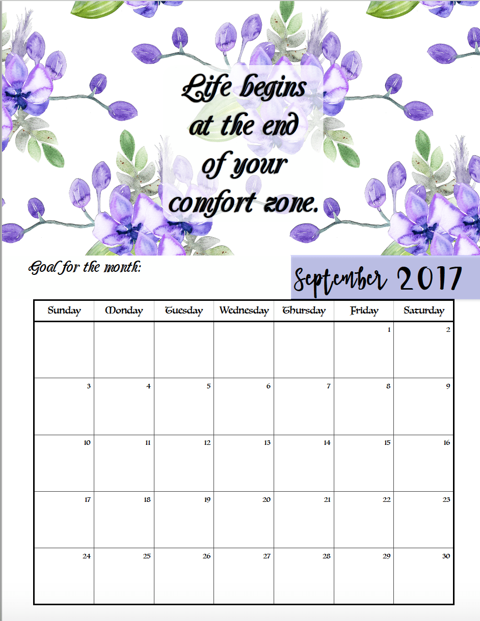 Free Printable 2017 Motivational Monthly Calendar In April Calendar Quotes And Sayings