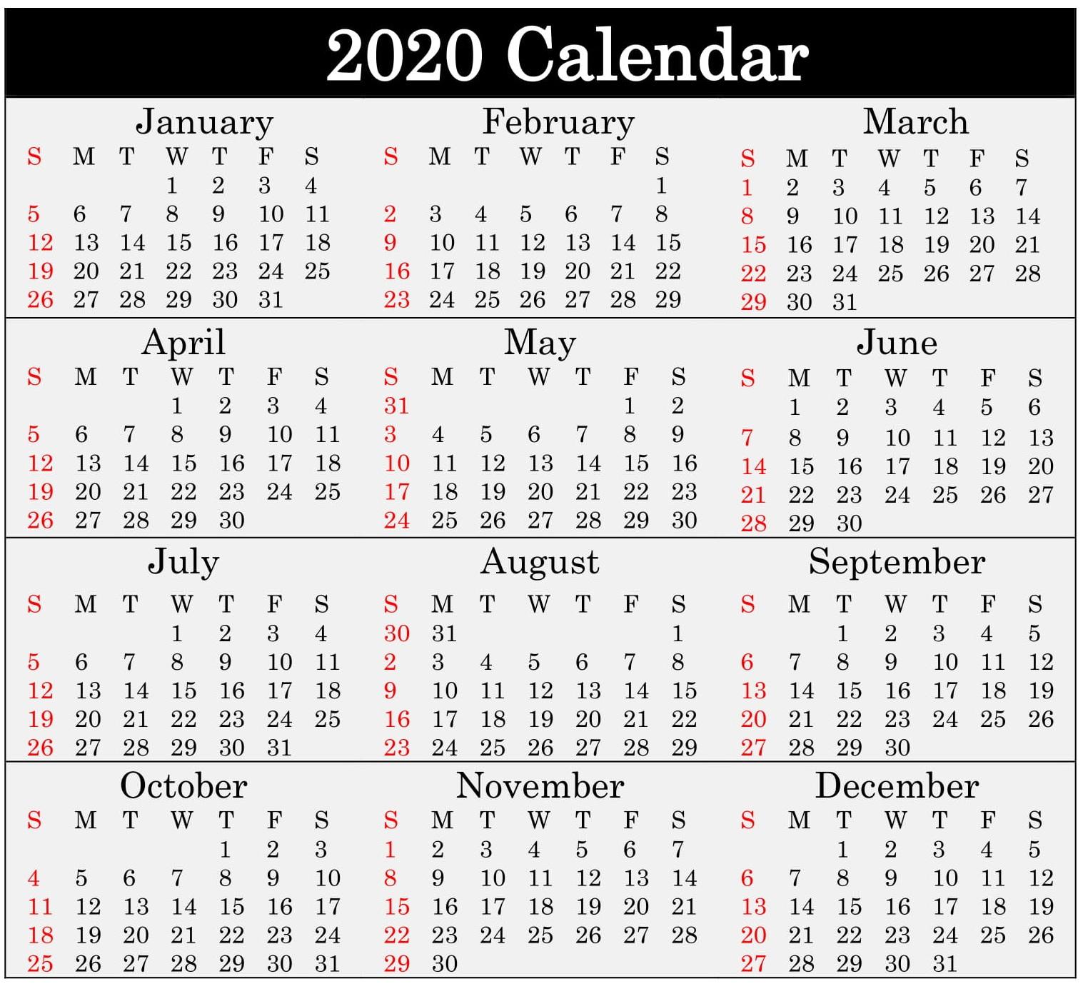 Free Printable 2020 Calendar Word, Pdf, Excel Document regarding Add Seasons To Google Calendar