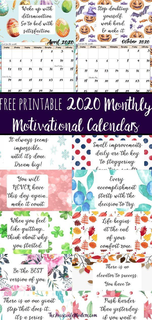 Free Printable 2020 Monthly Motivational Calendars. Space For April Calendar Quotes And Sayings