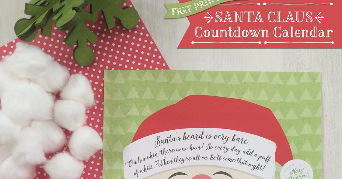 {Free Printable} Santa Claus Beard Countdown Calendar Inside How To Create Countdown 2 Year Calendar Starting In April