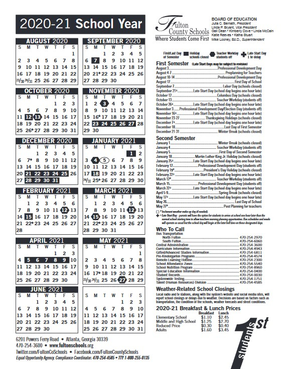 Fulton County Academic Calendar 2021 | 2021 Calendar For Georgia State University Calendar