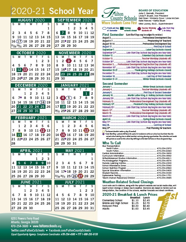 Fulton County Academic Calendar 2021 | 2021 Calendar Inside Texas State Univeristy Calendar 2021 2021